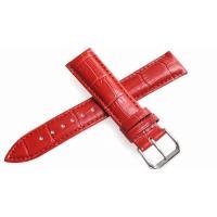 腕時計 16mm 用のレザーベルト。 バンドカラーはレッド(赤)、バックルは一般的なピンインバックル...