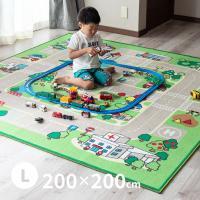男の子 キッズラグ ロードマップ 2 約200×200cm (大) (約2畳半) カーペット プレイマット デスクマット 道路