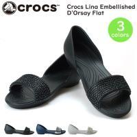 Women's Crocs Lina Embellished D'Orsay Flat エレガントで...