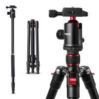 カメラ 三脚 ビデオカメラ 一眼レフ デジカメラ用 アルミ 4段階伸縮 全高1620mm 一脚可変式 自由雲台付き 軽量 コンパクト 安定性 ブラック TK101 TYCKA
