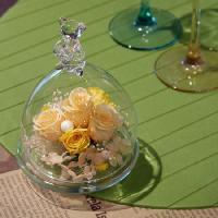 ベアグラス(ガラスドーム)・ジュリアオレンジ-送料、ギフト用ラッピング、メッセージカード無料。|hana-sandlot