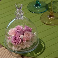 ベアグラス(ガラスドーム)・クリスタルピンク 誕生日プレゼント 女性 結婚祝い 結婚記念日 ブリザードフラワー 新築祝い お祝い プリザ hana-sandlot