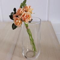 造花 アスカ ローズバンチ×5 1束6本  ピーチ A-31865-4|造花 バラ 00  造花 花材「は行」 バラ