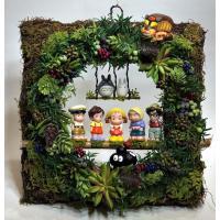 ジブリ トトロ フラワーアレンジ プレゼント「ようこそトトロの森へ みんなでお迎え 壁掛けタイプ 光触媒加工」