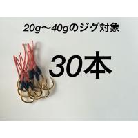20g〜40gのメタルジグの使用におすすめ! シングルフックの30本セットです。  フック:ヒラマサ...