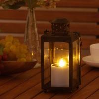 ソーラーライトゆらぎキャンドル・キャンドルランタンブラウン  セット  ■LEDカラー:電球色  ■...