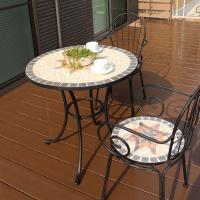 ■サイズ(mm) テーブル:直径760×高さ740mm パラソル穴:直径42mm  チェアー:横幅4...
