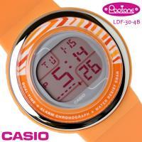 カシオ レディース 腕時計 スタンダード ポップトーン LDF-30-4B オレンジ CASIO P...