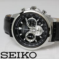 SEIKO セイコー クロノグラフ クオーツ メンズ 腕時計 SSB249P1 ブラック レザーベル...