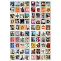 切手風シール ロンドン アンティーク デザインシール80枚入り