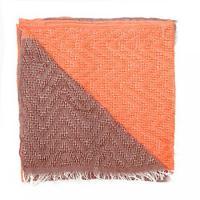 自然な感じの女性の単純なソフト軽量デュアル トーン ポリエステル スカーフ ショール、オレンジ/ブラウン、1 つのサイズ