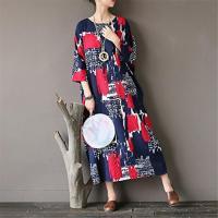 Yesno JS4 女性緩やかな長い印刷シフト ドレス カジュアルな綿 100% 着物袖クルーネック後ろスリットのサイド ポケット