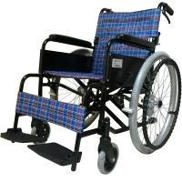 シンプルで使いやすい標準型アルミ製自走用車椅子。  シートカラーはオシャレなブルーとレッドのチェック...
