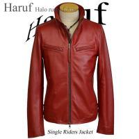 ライダースジャケット レザージャケット 革ジャン メンズ 本革 皮ジャン レザー ライダース シングル 革ジャケット ジップアップ レッド 赤