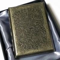 アンティークシガレットケース MARINE CORPS  アンティーク感あるゴールドの古美加工の表面...