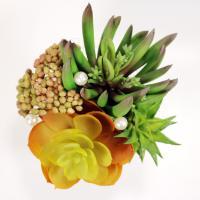 多肉植物 アエオニウム エケベリア ハオルチア 陶器 アレンジメント アートフラワー アーティフィシャルフラワー 造花 贈り物 ギフト パール グリーン 60サイズ