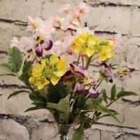 桜  菜の花 ビオラ ボトル型ガラス花器 アレンジメント アートフラワー アーティフィシャルフラワー 造花 贈り物 ギフト 可愛い プレゼント さくら お花見 春