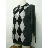 ペルー製アルパカ100%セーター アーガイル模様 濃いグレー