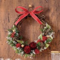 クリスマスとお正月の切り替えタイプのリースの制作キット。楽しいクリスマスが過ぎた次の日からは、リボン...