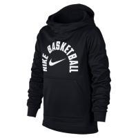 試合の前に暖かい状態をキープ。Nike Therma起毛フリース素材、マルチパネルフード、長めの裾を...