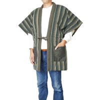 綿入れ 半纏 丹前 どてら 袖なし 日本製-綿入りやっこ 鰹縞 840