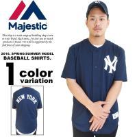 マジェスティック MAJESTIC ベースボールシャツ 半袖 Tシャツ ヤンキース メンズ  [ブラ...