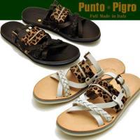 Punto Pigro プントピグロ  イタリア製ハラコと本革の レザーサンダル