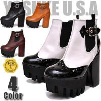 【YOSUKE U.S.A】ヨースケ 靴 厚底ブーツ ハイヒールファッション/レディース/サイドゴア...