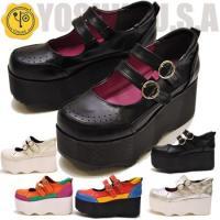 厚底/パンプス/靴/ブラック/7センチヒール/メリージェーン/ウェッジ/即納/ウエッジ/ストラップシ...