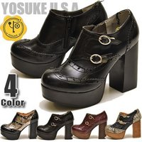 【YOSUKE U.S.A】ヨースケ 靴の厚底パンプス ハイヒール ファッション/レディース/ウィン...