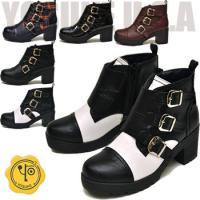 【YOSUKE U.S.A】ヨースケ 靴の厚底ブーツ ハイヒール ファッション/レディース/モンクス...