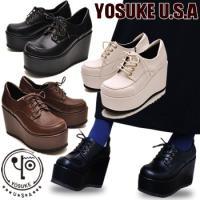 レディース 厚底オックスフォードパンプス 編み上げパンプス 紐靴 レディース yosuke ブラック...