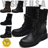 【YOSUKE U.S.A】ヨースケ 靴 ファッション/レディース/レースアップ/編み上げブーツ/ド...