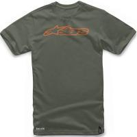 アルパインスターズ Tシャツ BLAZE TEE サイズ:S カラー:ミリタリーグリーン/オレンジ ...