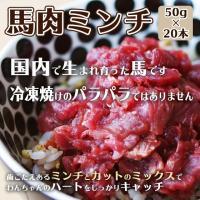 犬 馬肉 ドッグフード 国産馬肉ミンチ 1kg ミンチとカットのミックス 50g×20本