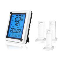 デジタル温湿度計 外気温度計 ワイヤレス 温度湿度計 室内屋外兼用&三個子機センサー 高精度 LCD大画面 バックライト機能付き 最高最低温湿度表示