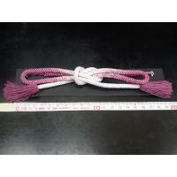 男女兼用 No.8 ピンク紫 × ホワイト 羽織紐 直付け 大つぼ 細組み 長尺 撚房 日本製品 絹100%