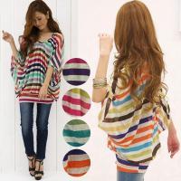 こちらの商品は、夏らしい華やかなカラーが可愛い ドルマン袖シフォンチュニックです。 ふんわりシフォン...