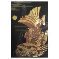 クリスマスカード 和風 海外向け 岩209 「金のシャチホコ・忍者」 縦型 表現社 中紙・封筒別注印刷可能 Christmas card グリーティン