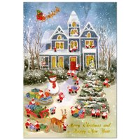 クリスマスカード 洋風 APJ 立体カード XC-111639 ミニサンタポップアップカード サンタのミニクリスマス準備 Christmas card