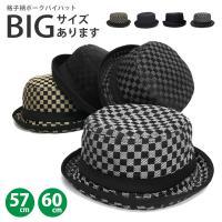 帽子 メンズ ハット ポークパイハット 大きいサイズ  春夏メンズ特集  60cm/57cm 格子柄 カジュアル メール便送料無料 全3色 hat-899