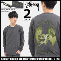 ステューシー STUSSY Tシャツ 長袖 メンズ Double Dragon Pigment Dy...