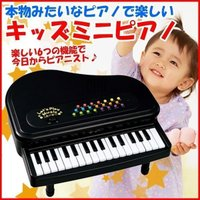 「キッズミニピアノ」は、ゆかいな8曲のメロディ、4種類の楽器音やリズムが選べるキッズ用ミニピアノです...