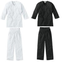 ダボシャツ上下セット・鯉口シャツ上下セットシリーズ、黒・白<BR>鯉口シャツ・ズボン・パンツの上下セット<BR>祭り着、居酒屋の制服等