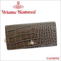 ヴィヴィアンウエストウッド2017年秋冬新作「YASMINE」シリーズの長財布です。クロコ調の型押し...
