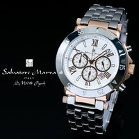 ●サルバトーレ マーラ 腕時計 SM7019 WH ホワイト クロノグラフ カレンダー 24時間計●...