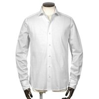 GUY ROVER  21-22AW!コットンフランネル調ジャージーワイドカラーシャツ「PL196J」(ホワイト)