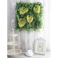 造花 リース 壁掛け グリーン アーティフィシャルフラワー インテリア 四角  W-512