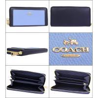 コーチ COACH 財布 長財布 F53838 ミッドナイト×ブルージェイ ラグジュアリー カラーブロック レザー アコーディオン ジップ アウトレット レディース