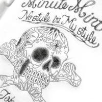 【 MINUTE MIRTH 】 ペイズリースカル刺繍モーターサイクルバイカーTシャツ